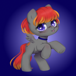 Size: 3000x3000 | Tagged: artist:vitalspark, base used, chibi, collar, heart eyes, oc, oc:arian blaze, oc only, pegasus, pet play, pony, safe, solo, tongue out, wingding eyes
