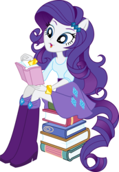 Size: 3000x4336 | Tagged: absurd res, artist:aqua-pony, book, boots, bracelet, clothes, cute, equestria girls, high heel boots, open mouth, ponied up, pony ears, ponytail, rarity, reading, safe, simple background, skirt, smiling, solo, transparent background, vector
