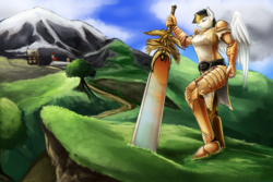 Size: 1800x1200 | Tagged: safe, artist:d-lowell, oc, oc only, pegasus, anthro, plantigrade anthro, anthro oc, armor, cloud, commission, female, guild wars 2, mare, mountain, path, scenery, sky, solo, sword, town, tree, weapon