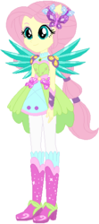 Size: 244x551 | Tagged: safe, artist:ra1nb0wk1tty, fluttershy, equestria girls, legend of everfree, boots, crystal guardian, crystal wings, cute, female, high heel boots, ponied up, ponytail, simple background, solo, sparkles, super ponied up, white background, wings