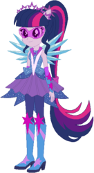 Size: 311x570 | Tagged: safe, artist:ra1nb0wk1tty, sci-twi, twilight sparkle, equestria girls, legend of everfree, boots, crystal guardian, crystal wings, female, glasses, high heel boots, ponied up, ponytail, scitwilicorn, simple background, solo, sparkles, super ponied up, white background, wings