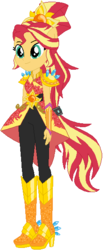 Size: 244x592 | Tagged: safe, artist:ra1nb0wk1tty, sunset shimmer, equestria girls, legend of everfree, boots, chains, crystal guardian, female, high heel boots, ponied up, ponytail, simple background, solo, sparkles, sun, super ponied up, white background