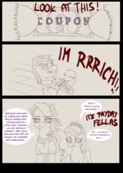 Size: 868x1227 | Tagged: safe, artist:dankflank, derpibooru exclusive, diamond tiara, filthy rich, spoiled rich, earth pony, pony, clothes, comic, coupon, dialogue, drawthread, female, filly, male, mare, parody, payday 2, spoilthy, stallion