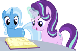 Size: 6000x3914 | Tagged: safe, artist:deratrox, starlight glimmer, trixie, pony, unicorn, all bottled up, .svg available, absurd resolution, book, female, magic, mare, simple background, transparent background, vector