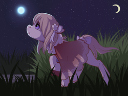 Size: 800x600 | Tagged: safe, artist:littlemoshi, oc, oc only, earth pony, pony, bow, cape, clothes, crescent moon, female, grass, looking up, mare, moon, night, profile, raised hoof, solo, stars, tail bow