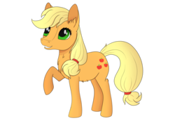 Size: 900x636 | Tagged: safe, artist:fia94, applejack, chest fluff, ear fluff, hatless, looking up, missing accessory, raised hoof, simple background, smiling, solo, transparent background