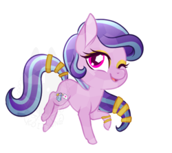 Size: 734x656 | Tagged: safe, artist:koitsune, oc, oc only, oc:succulent scent, crystal pony, pony, bangles, chibi, eyeshadow, female, makeup, mare, solo
