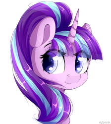Size: 1024x1142 | Tagged: safe, artist:mitralexa, starlight glimmer, pony, unicorn, bust, cute, eye clipping through hair, eyebrows, eyebrows visible through hair, female, glimmerbetes, mare, portrait, simple background, smiling, solo, white background