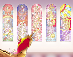 Size: 2506x1950 | Tagged: safe, artist:saturdaymorningproj, applejack, fluttershy, pinkie pie, princess celestia, princess luna, rainbow dash, rarity, spike, sunset shimmer, twilight sparkle, alicorn, dragon, pony, comic:a princess' worth, alicornified, alternate universe, comic, mane seven, mane six, race swap, rainbow power, shimmercorn, stained glass, twilight sparkle (alicorn)