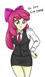 Size: 2007x3472   Tagged: safe, artist:sumin6301, apple bloom, equestria girls, adorabloom, bow, breasts, business suit, busty apple bloom, clothes, cute, dialogue, female, hair bow, looking at you, miniskirt, moe, necktie, red hair, skirt, skirt suit, smiling, solo, suit, waistcoat