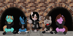 Size: 3969x1984 | Tagged: alternate version, angry, artist:lightningbolt, belt, bob bryar, bricks, broken wing, clandestine industries, clothes, concrete, covering face, derpibooru exclusive, ear piercing, earth pony, emo, eyes closed, eyeshadow, facewing, fangs, frank iero, gauges, gerard way, glasses, group, hair over one eye, hood, horn piercing, jacket, lip piercing, looking at you, makeup, male, mikey way, my chemical romance, necktie, nose piercing, pegasus, piercing, ponified, pony, raised hoof, ray toro, safe, scarf, shirt, shoes, sitting, sneakers, socks, stallion, standing, suit, svg, .svg available, tattered, tattoo, three cheers for sweet revenge, underhoof, undershirt, unicorn, vector, wing hands, wristband, zipper