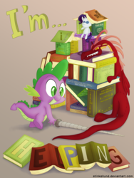 Size: 3000x4000 | Tagged: safe, artist:stinkehund, basil, spike, dragon, book, doll, part of a set, plushie, rarity plushie, solo, spear, toy, weapon