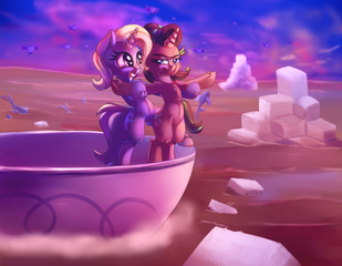 Size: 2000x1555 | Tagged: all bottled up, armpits, artist:discorded, belly button, bipedal, cup, duo, female, from behind, mare, movie reference, pony, safe, smiling, spoiler:s07e02, starlight glimmer, sugarcube, teacup, titanic, trixie, trixie's puppeteering, unamused, unicorn