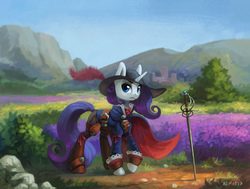 Size: 1400x1057 | Tagged: safe, artist:asimos, rarity, pony, unicorn, clothes, female, hat, mare, rapier, scenery, solo, sword, weapon