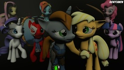 Size: 1920x1080 | Tagged: safe, artist:goatcanon, applejack, fluttershy, pinkie pie, rainbow dash, rarity, twilight sparkle, oc, oc:littlepip, oc:red eye, cyborg, earth pony, pegasus, pony, unicorn, fallout equestria, 3d, clothes, crying, extract, fanfic, fanfic art, female, horn, mare, ministry mares, mirror, pipbuck, simple background, source filmmaker, vault suit, wings
