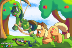 Size: 3000x2000 | Tagged: safe, artist:soranotamashii, applejack, oc, oc:windy barebow evergreen, earth pony, pegasus, pony, apple, arrow, bandage, bondage, bow (weapon), bow and arrow, feather, fetish, food, grin, hat, hoof fetish, hoof tickling, hoof wraps, hooves, laughing, love and tolerate, message, plunger, quiver, restrained, ribbon, rope, rope bondage, shadow, smiling, suction cup, suspended, tail wrap, tickle fetish, tickle torture, tickles, tickling, tied up, tree, weapon