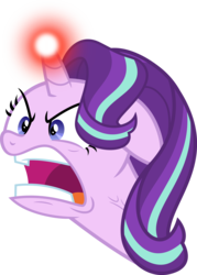 Size: 4197x5876   Tagged: safe, artist:osipush, starlight glimmer, pony, unicorn, all bottled up, absurd resolution, angry, female, glowing horn, mare, open mouth, ragelight glimmer, simple background, transparent background, vector, yelling