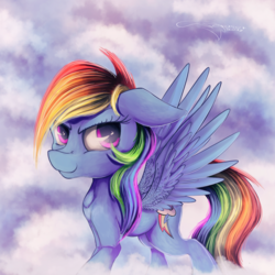 Size: 3000x3000 | Tagged: artist:ferasor, cloud, female, floppy ears, mare, multicolored hair, pegasus, pony, rainbow dash, safe, smiling, solo