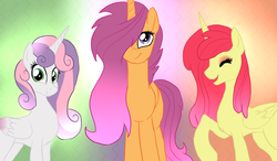 Size: 1752x1026 | Tagged: adorabloom, alicorn, alicornified, apple bloom, artist:not-ordinary-pony, bloomicorn, cute, cutie mark crusaders, eyes closed, female, hair over one eye, looking at you, mare, older, pony, race swap, red hair, safe, scootacorn, scootaloo, smiling, sweetie belle, sweetiecorn, trio