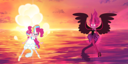 Size: 1194x600 | Tagged: safe, artist:3d4d, artist:orin331, pinkie pie, equestria girls, clothes, daydream-ified, dress, evil, fight, good, midnight-ified, open mouth, red eyes, self paradox