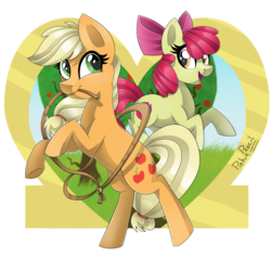 Size: 1584x1500 | Tagged: safe, artist:biskhuit, apple bloom, applejack, pony, hatless, lasso, missing accessory, mouth hold, rearing, rope