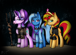 Size: 1377x993 | Tagged: safe, artist:tina1412, starlight glimmer, sunset shimmer, trixie, pony, unicorn, alicorn amulet, big crown thingy, bubblegum, chest fluff, clothes, counterparts, female, food, gum, jacket, jewelry, magical trio, mare, regalia, s5 starlight, staff, staff of sameness, twilight's counterparts
