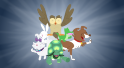 Size: 3539x1959 | Tagged: safe, artist:porygon2z, angel bunny, gummy, opalescence, owlowiscious, tank, winona, all bottled up, best friends until the end of time, pet six