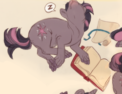 Size: 799x613 | Tagged: artist:jayrockin, book, cropped, safe, scroll, sleeping, that pony sure does love books, tiny sapient ungulates, twilight sparkle