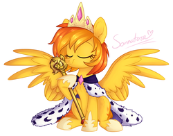 Size: 1312x1030 | Tagged: safe, artist:sonnatora, oc, oc only, oc:firetale, pegasus, pony, commission, female, mare, scepter, simple background, white background, ych result