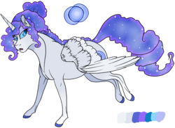 Size: 810x596 | Tagged: artist:bijutsuyoukai, colored hooves, ethereal mane, female, magical lesbian spawn, mare, oc, oc:blue moon, oc only, offspring, parent:nightmare moon, parent:rarity, parents:nightrarity, pegasus, pony, realistic horse legs, reference sheet, safe, simple background, solo, starry mane, transparent background