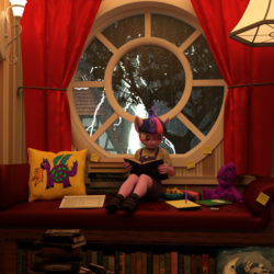 Size: 1500x1500 | Tagged: 3d, anthro, artist:tahublade7, book, cheese, clothes, cute, daz studio, doll, dragon, egghead, female, filly, filly twilight sparkle, food, glasses, hound of the baskervilles, lightning, nerd, pillow, plantigrade anthro, post-it, rain, reading, safe, socks, solo, stuffed animal, that pony sure does love books, thunderbolt and lightning very very frightening me, thunderstorm, toy, twiabetes, twilight sparkle, unicorn, younger