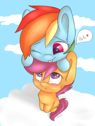 Size: 1024x1365   Tagged: safe, artist:dbleki, rainbow dash, scootaloo, pegasus, pony, :o, :p, blushing, cheek fluff, chest fluff, cloud, cute, cutealoo, dashabetes, ear fluff, female, filly, fluffy, heart, hello, leaning, lesbian, looking up, mare, one eye closed, open mouth, ponies riding ponies, pony hat, rainbow dash riding rainbow dash, riding, scootadash, scootalove, shipping, silly, sitting, sky, smiling, speech bubble, tongue out, weapons-grade cute, wink