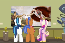 Size: 699x462 | Tagged: a flurry of emotions, chris jericho, edit, fine art parody, kevin owens, parody, photoshop, pony, princess cadance, safe, shining armor, spearhead, the creation of adam, the creation of kevin, the festival of friendship, wwe