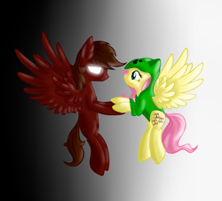 Size: 880x800 | Tagged: safe, artist:stormer, fluttershy, oc, pegasus, pony, clothes, creepershy, gradient background, herobrine, holding hooves, hoodie, minecraft, ponified, simple background