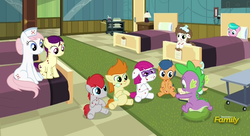 Size: 787x428   Tagged: safe, screencap, aquamarine, boysenberry, first base, nurse redheart, spike, train tracks (character), dragon, a flurry of emotions, discovery family logo, ponyville hospital, sick