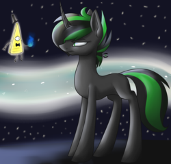 Size: 1280x1223 | Tagged: safe, artist:stormer, oc, oc:starstorm, pony, unicorn, bill cipher, crossover, curved horn, female, gravity falls, lidded eyes, mare