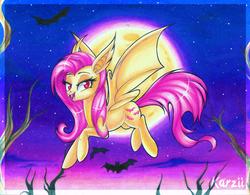 Size: 800x624 | Tagged: safe, artist:karzii, fluttershy, bat, bat pony, pony, flutterbat, flying, moon, night, race swap, solo, stars, traditional art, tree branch