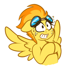Size: 1198x1144 | Tagged: safe, artist:graphene, spitfire, pegasus, pony, female, goggles, nervous, simple background, solo, white background, wings