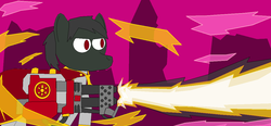 Size: 1109x516 | Tagged: safe, artist:infinita est lux solis, pony, fallout equestria, fallout equestria: return of the king, canterlot, flamethrower, heavy flamer, magic, ms paint, pink cloud, pink cloud (fo:e), the priesthood of flutterwest, warhammer (game), warhammer 40k, weapon