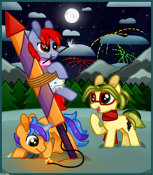 Size: 2626x2993 | Tagged: safe, artist:amberpone, oc, oc only, oc:louier, oc:quilling needle, oc:vision revision, earth pony, pony, unicorn, blue, blue eyes, brown eyes, clothes, cloud, cutie mark, diaper, digital art, female, fire, fireworks, food, glasses, green, green eyes, group, horn, magic, male, mane, mare, moon, mountain, new year, night, orange, original character do not steal, paint tool sai, painttoolsai, pegasister, ponytail, purple, red, scarf, shading, snow, stallion, stars, tail, this will end in tears and/or death, tree, yellow