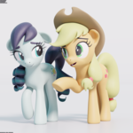 Size: 2048x2048 | Tagged: 3d, 3d model, applejack, artist:therealdjthed, blender, coloratura, cute, cycles, cycles render, duo, earth pony, female, mare, pony, rara, safe, simple background