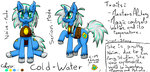 Size: 2500x1200 | Tagged: alchemy, artist:excarnis, cold, free to use, oc, oc:cold-water, oc only, pony, reference sheet, safe, soli, unicorn, water