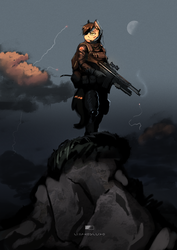 Size: 1024x1448 | Tagged: safe, artist:greenfireartist, oc, oc only, anthro, earth pony, anthro oc, blood, cloud, commission, gun, heckler and koch, male, moon, rock, serious, serious face, sky, solo, stallion, weapon
