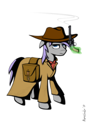 Size: 802x1136 | Tagged: artist:avastindy, clothes, coat, cowboy, cowboyhat, gun, handgun, oc, oc only, oc:spark brush, pistol, pony, revolver, saddle bag, safe, simple background, solo, transparent background, weapon