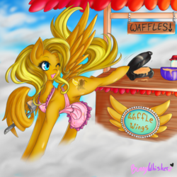 Size: 1024x1024 | Tagged: safe, artist:bunnywhiskerz, oc, oc only, oc:maple breeze, pegasus, pony, female, food, mare, solo, waffle