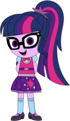 Size: 1012x1752 | Tagged: safe, artist:ra1nb0wk1tty, sci-twi, twilight sparkle, equestria girls, bowtie, clothes, cute, glasses, hands behind back, looking at you, mary janes, ponytail, shoes, simple background, skirt, socks, solo, transparent background