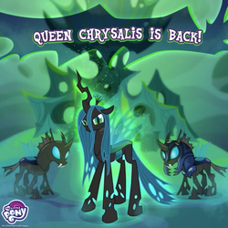 Size: 900x900 | Tagged: changeling, changeling guard, gameloft, my little pony logo, queen chrysalis, safe