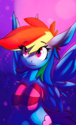 Size: 2000x3273 | Tagged: safe, artist:1deathpony1, artist:queenbloodysky, rainbow dash, pony, clothes, collaboration, cute, female, flying, socks, solo, striped socks