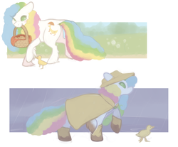 Size: 940x780 | Tagged: artist:bananasmores, basket, blushing, boots, cookie, dock, duck, duckling, food, g1, hat, mouth hold, quackers, rain, rainbow mane, rainbow tail, raincoat, safe, sunlight, unshorn fetlocks, wellington boots
