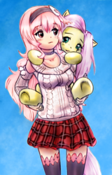 Size: 968x1516 | Tagged: artist:alloyrabbit, artist:cabrony, carrying, clothes, colored, color edit, compa, crossover, edit, fluttershy, human, hyperdimension neptunia, kneesocks, pony, safe, skirt, socks, sweater